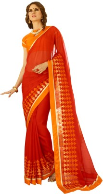 Oomph! Embroidered Bollywood Georgette Saree(Red) at flipkart