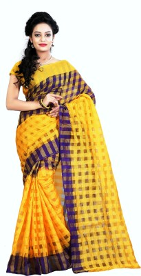 PerfectBlue Printed, Checkered Bhagalpuri Cotton Sari