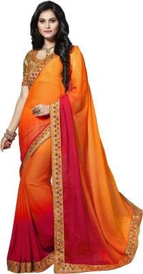 M.S.Retail Embroidered Bollywood Chiffon Saree(Multicolor) at flipkart
