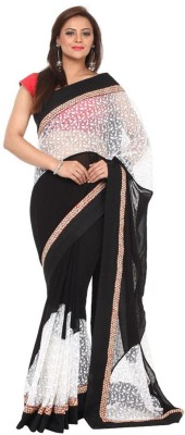 Kataan Bazaar Self Design Banarasi Georgette Saree(Black) at flipkart