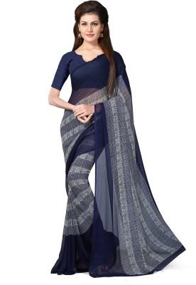 Livie Geometric Print Bollywood Chiffon Sari(Multicolor)