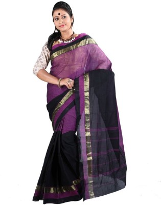 Rudrakshhh Striped Tant Handloom Cotton Saree(Purple, Black) at flipkart