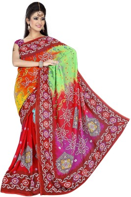 Stalion Creation Printed Bandhani Satin Sari