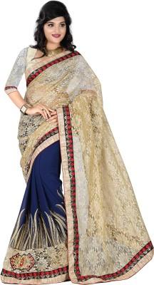 Krishna Prints Embriodered Bollywood Georgette, Jacquard Sari