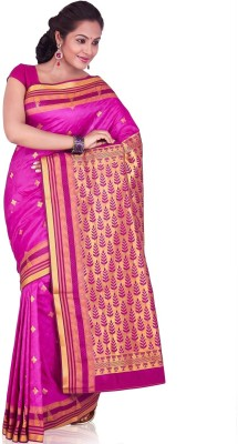 Annapurna Silks Geometric Print Kanjivaram Handloom Art Silk Sari