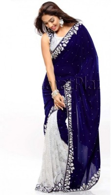 leepsprints Embroidered Bollywood Velvet, Net Saree(Blue, White) at flipkart