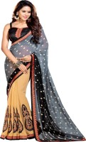 Sourbh Sarees Self Design Fashion Synthetic Georgette Saree(Grey, Beige)
