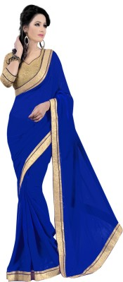Janasya Self Design, Solid Bollywood Georgette Sari