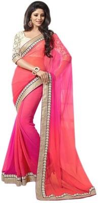 Omanksh Fashion Self Design Daily Wear Handloom Georgette Sari