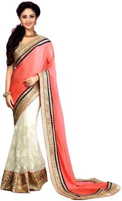 Crazyvilla Solid Daily Wear Net, Chiffon Sari