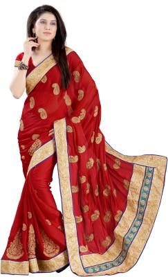 Chandra Silk Mills Embriodered Fashion Satin Sari