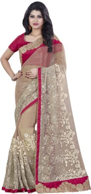 Mahotsav Embroidered Fashion Georgette Saree(Beige) at flipkart
