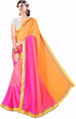 Dlesha Hand Painted Daily Wear Synthetic Georgette Sari