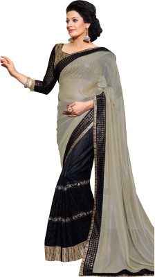 Queenbee Embriodered, Self Design Fashion Georgette, Net Sari