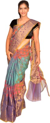 Jagadamba Self Design Fashion Organza Sari