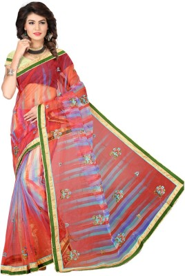 Ansu Fashion Embroidered Fashion Printed Silk Sari(Red) at flipkart