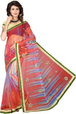 Ansu Fashion Embroidered Fashion Printed Silk Sari(Red) at flipkart