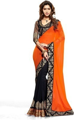 Ptian Embriodered Bollywood Georgette Sari