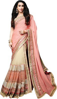 Jassu Fashion Hub Embriodered Fashion Georgette, Net Sari
