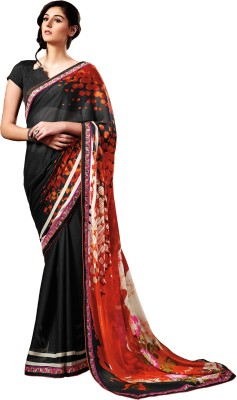 Stay Blessed Printed Fashion Georgette, Crepe Sari