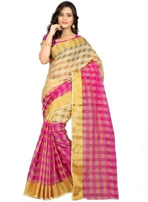 Aryya Checkered Fashion Art Silk Sari