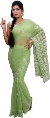 RZU Embriodered Lucknow Chikankari Handloom Georgette Sari