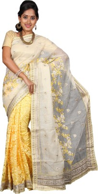 vinaa sarees Embriodered Fashion Jute Sari