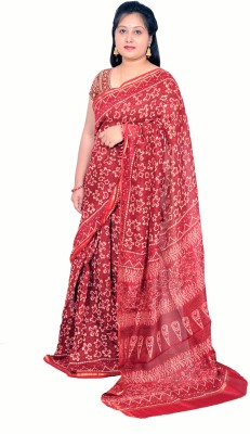Rashmi Boutique Self Design, Embellished, Printed Maheshwari Cotton Sari