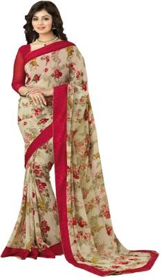TriveniCreation Floral Print Bollywood Viscose Sari