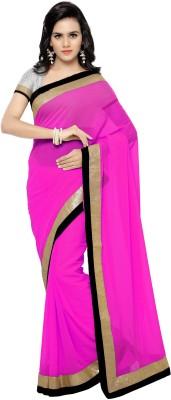 satya sita Self Design Fashion Georgette Saree(Pink) at flipkart