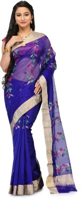 Aadhuni Self Design Banarasi Chanderi Saree(Dark Blue) at flipkart
