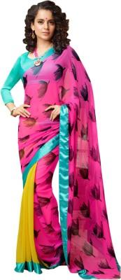 RA Graphic Print Bollywood Georgette, Chiffon Sari
