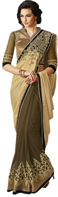 Greenvilla Designs Plain Fashion Chiffon Sari
