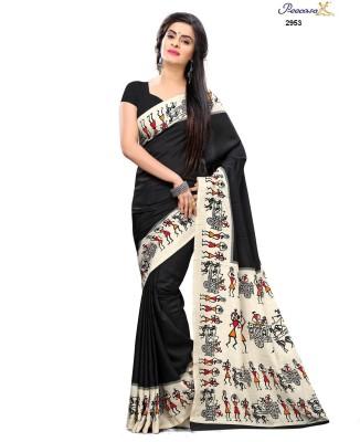 Peecaso Graphic Print Bollywood Synthetic Sari