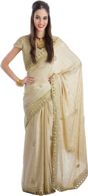 Fashion Fiesta Embriodered Fashion Synthetic Crepe Sari
