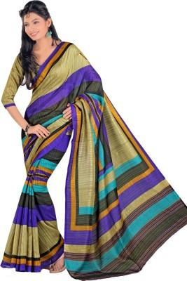 Swaranjali Striped, Self Design Fashion Art Silk, Cotton Sari