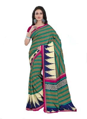 AJS Paisley, Printed, Striped Fashion Art Silk Sari