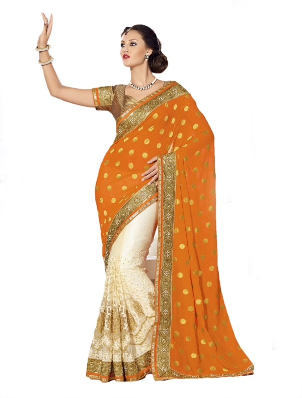 Aarti Apparels Embroidered Bollywood Chiffon Saree(Orange, White)