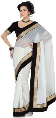 Aksh Fashion Animal Print Bollywood Georgette Saree(Black, White) at flipkart