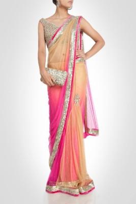 Suitsvilla Plain Fashion Net Sari