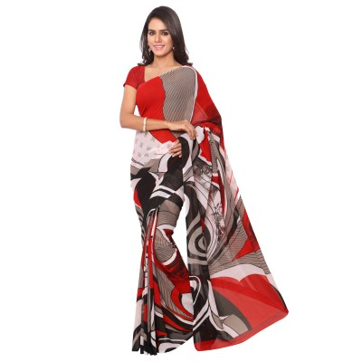 Goodfeel Geometric Print Bollywood Chiffon Sari