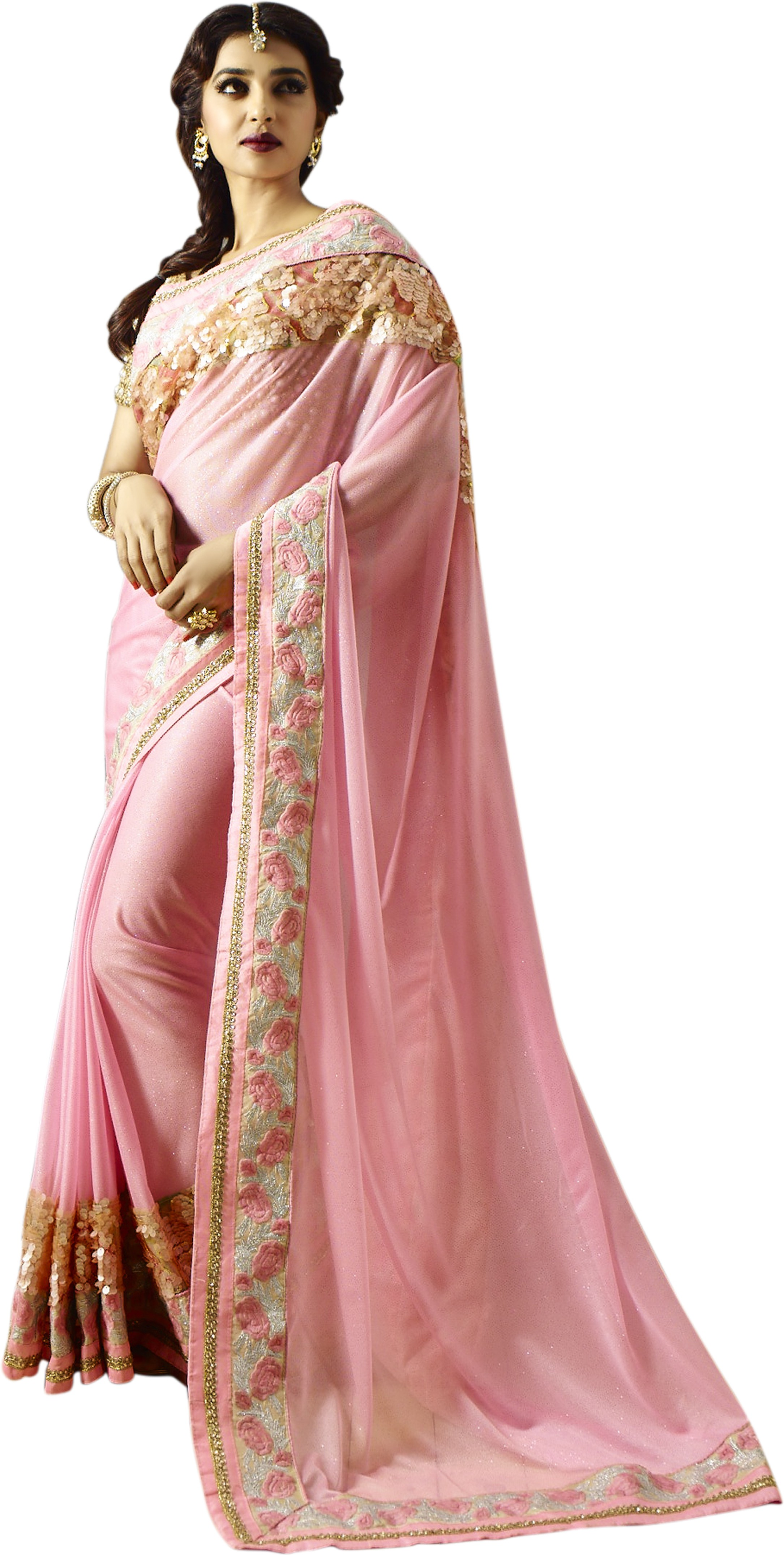Chirag Sarees Embellished Bollywood Georgette Saree(Pink)