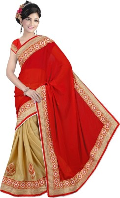 Right Cart Solid, Embellished, Embriodered, Self Design Bollywood Georgette Sari