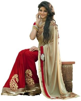 JJR Self Design Fashion Chiffon Sari