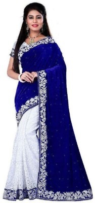 Googlee Self Design, Embellished Bollywood Velvet, Net, Kota Cotton Saree(Blue, White, Silver) at flipkart