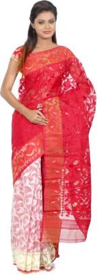 B3Fashion Floral Print Jamdani Silk Sari