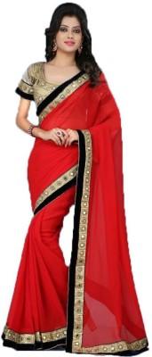 Indrakshi Sarees Plain Bollywood Synthetic Fabric Sari