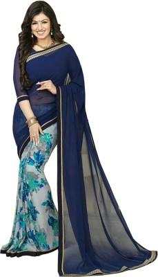 Blue fashion Floral Print Fashion Georgette Sari