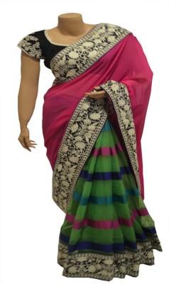 BEAUVILLE VAIIBAVAM Embriodered Fashion Pure Georgette, Organza Sari