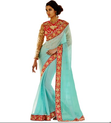 The Ethnic Chic Embriodered Fashion Satin, Chiffon Sari